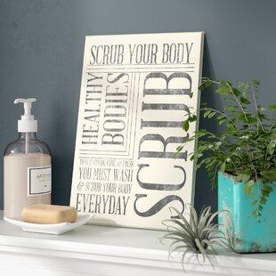 U0027Scrub Your Bodyu0027 Typography Bathroom Wall Plaque
