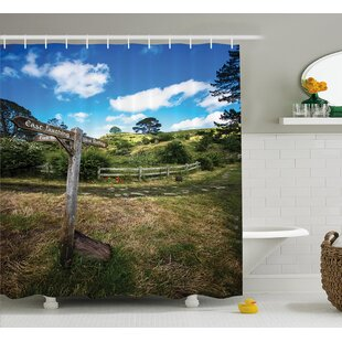 Hobbits Rustic Wooden Sign Single Shower Curtain