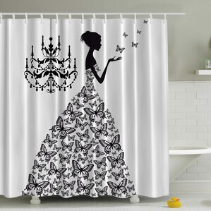 Rowena Madame Butterfly Print Shower CurtainFind The Best Shower Curtains   Wayfair. Black And Cream Shower Curtain. Home Design Ideas