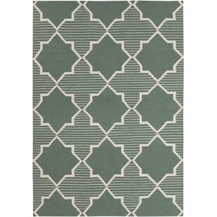 Bayonne Green/White Geometric Rug By Harriet Bee