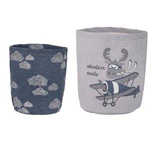Find Round Fabric 2 Piece Basket Set ByHarriet Bee
