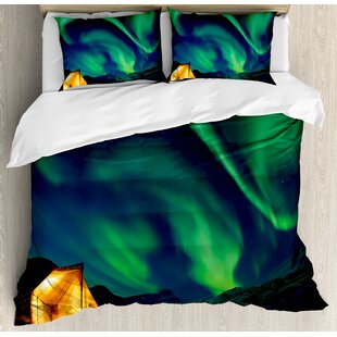 East Urban Home Northern Lights Psychedelic Sky on Nordic Camping Radiant Energy Image Duvet Set