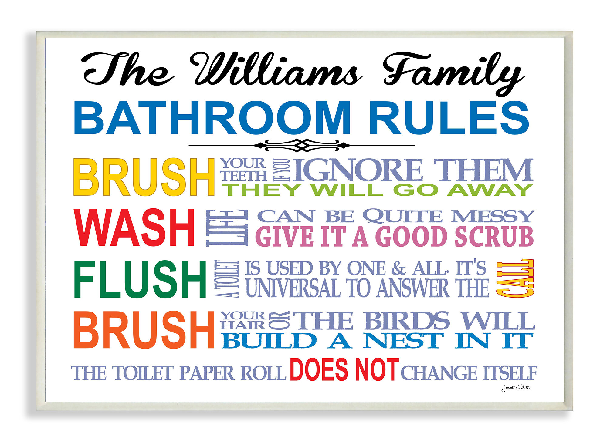 Stupell Industries Personalized Bathroom Rules Rainbow by Janet