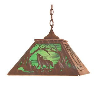 Meyda Tiffany Northwoods Wof on the Loose 2-Light Pendant