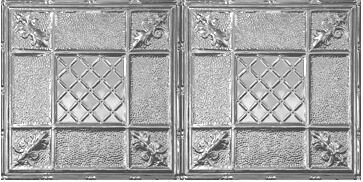 Chelsea Decorative Metal Co Victorian 2 04 Ft X 4 04 Ft Drop In Tin Ceiling Tile In Shiny Silver Reviews Wayfair