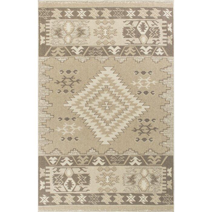 Holmes Flat Woven Wool Beige Area Rug