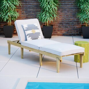 Ardsley Reclining Teak Chaise Lounge with Cushion