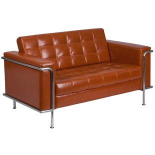 Wade Logan Myron Contemporary Leather Loveseat
