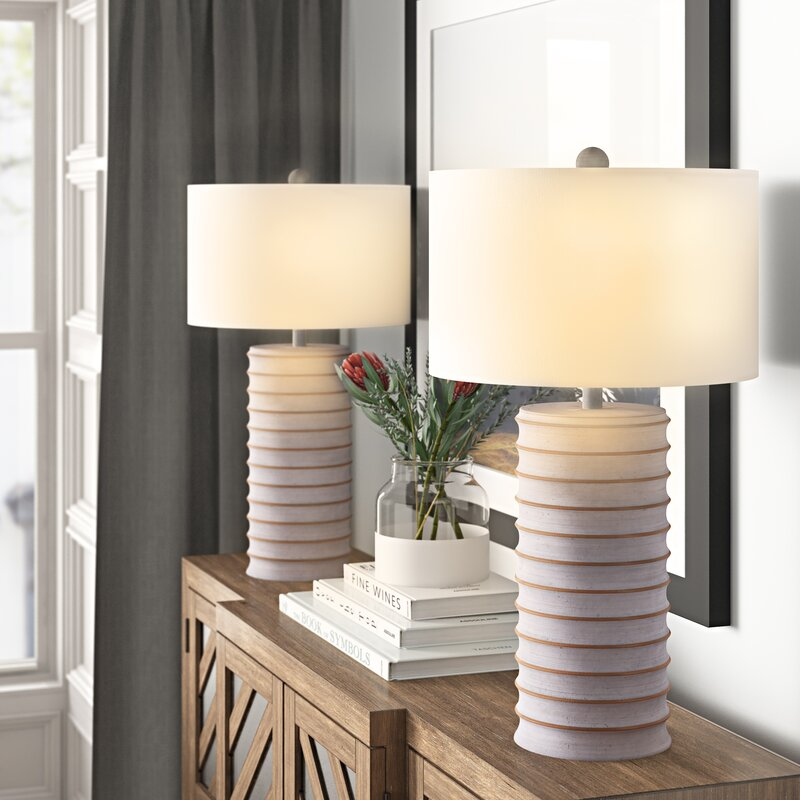 White Washed Standard Table Lamp Set