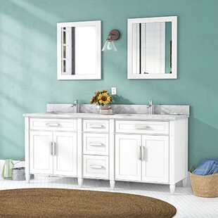Shop For Lachine Marble Stone 72 Double Bathroom Vanity with Mirrors ByGracie Oaks
