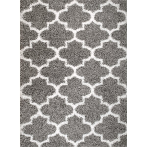 rug and decor inc supreme shag royal trellis gray white area rug