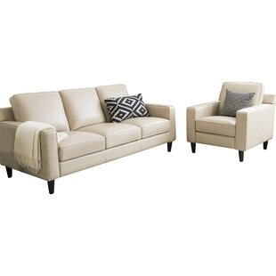 Nalston 2 Piece Leather Living Room Set by Three Posts