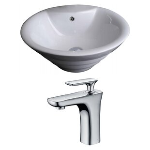 American Imaginations Ceramic Circular Vessel Bathroom Sink with Faucet and Overflow