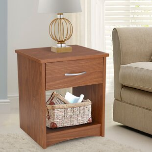 Adeco Trading 1 Drawer Nightstand