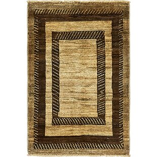 Top Reviews One-of-a-Kind Nash Hand-Knotted  2' x 3' Wool Black/Beige Area Rug By Isabelline