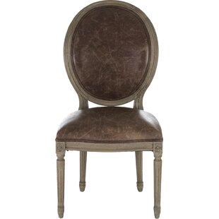 Medallion Genuine Leather Upholstered Din..