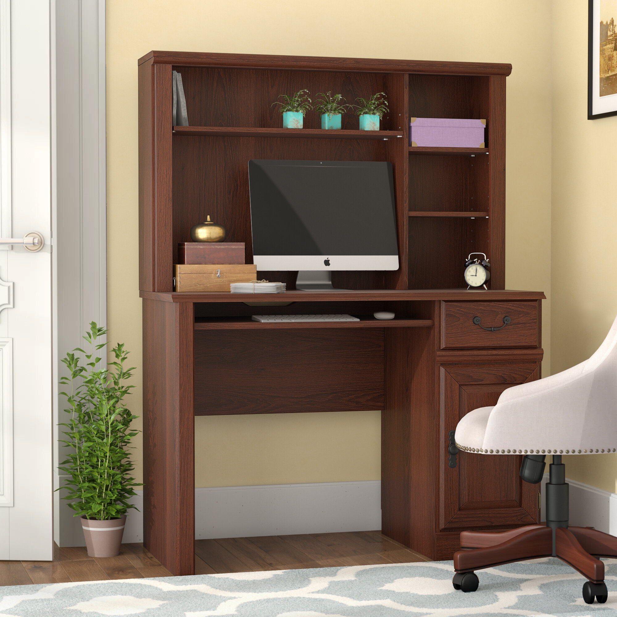 Three Posts Leith Computer Desk With Hutch U0026 Reviews | Wayfair