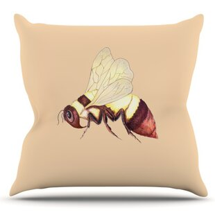 Bee Happy By Catherine Holcombe Outdoor Throw Pillow by East Urban Home