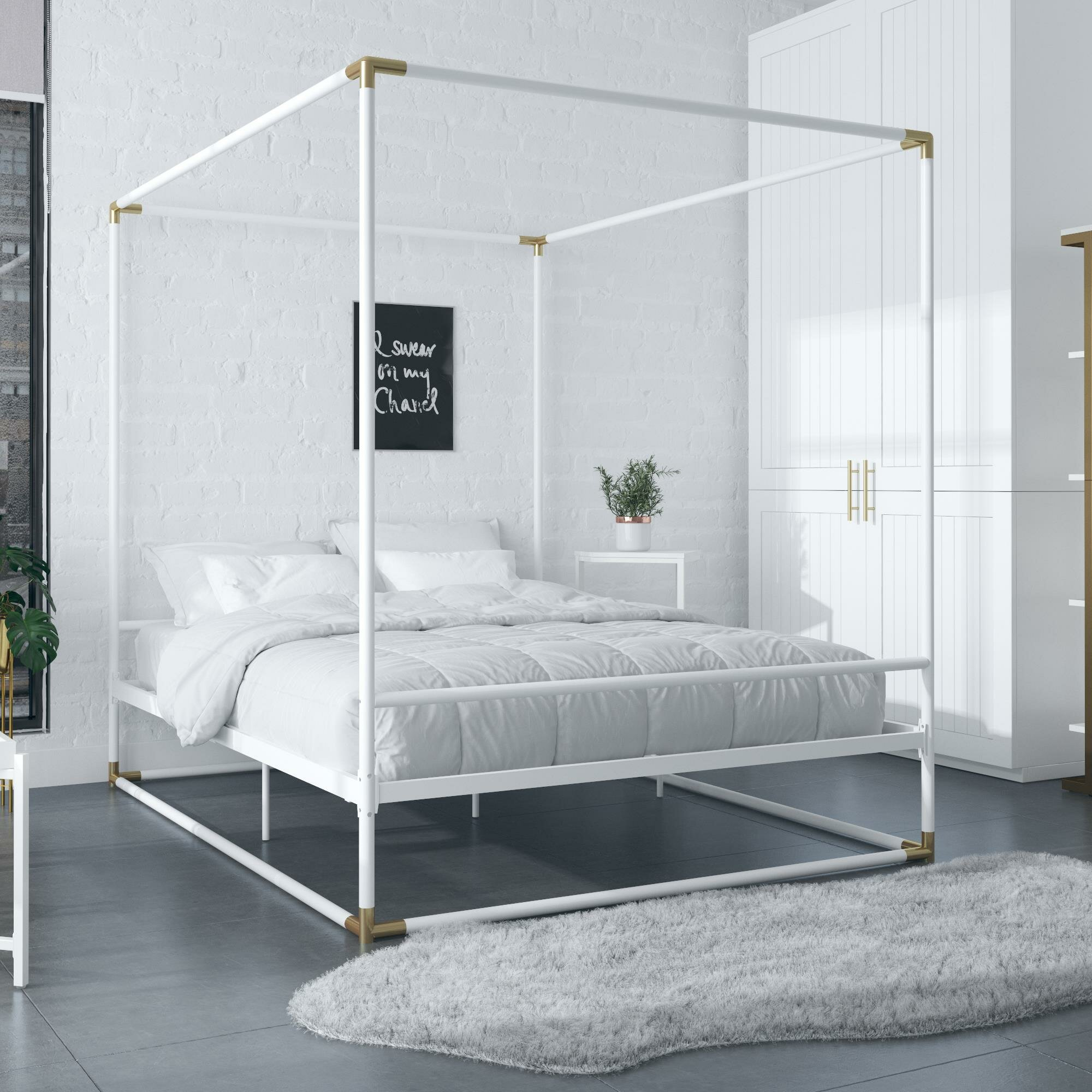 Metal White Beds Bed Frames Free Shipping Over 35 Wayfair