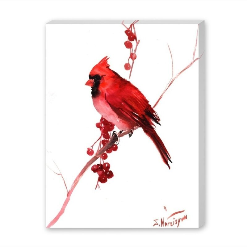 Alcott Hill Red Cardinal Bird Painting Print On Gallery Wrapped