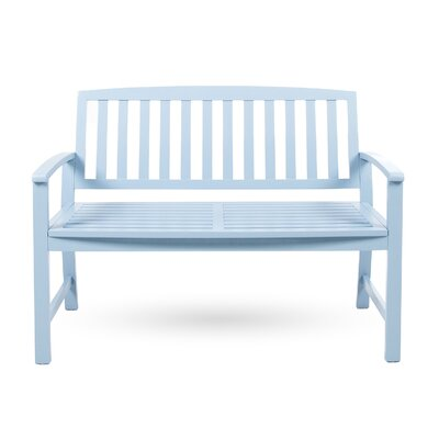 Beachcrest Home Leora Acacia Wood Garden Bench Color: Light Blue