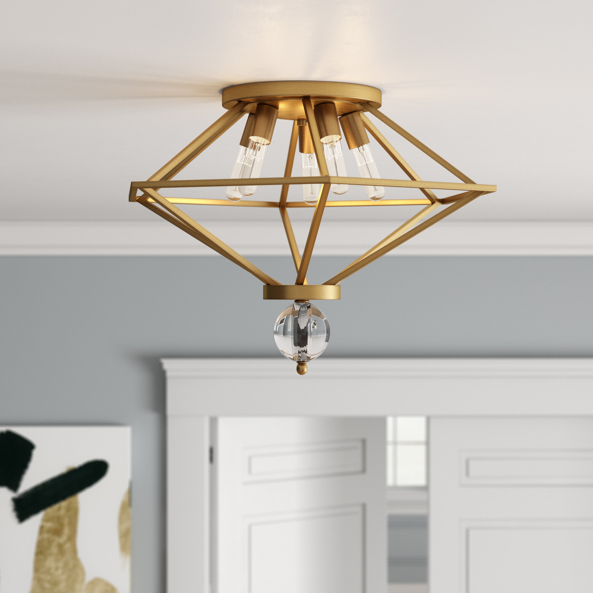 Willa Arlo Interiors Becker 5 Light 23 Unique Statement Geometric Flush Mount Reviews Wayfair