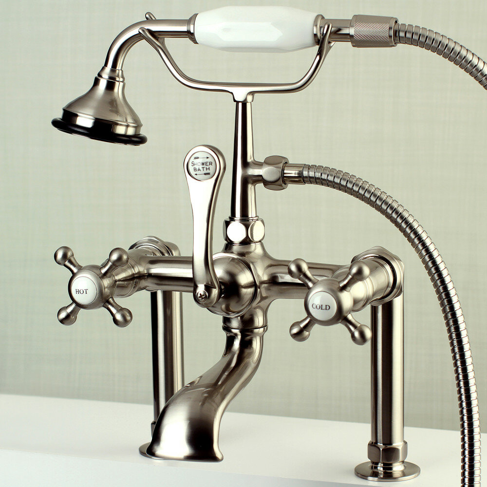 Kingston Brass English Country Triple Handle Deck Mounted Clawfoot Tub Faucet With Diverter And Handshower Wayfair