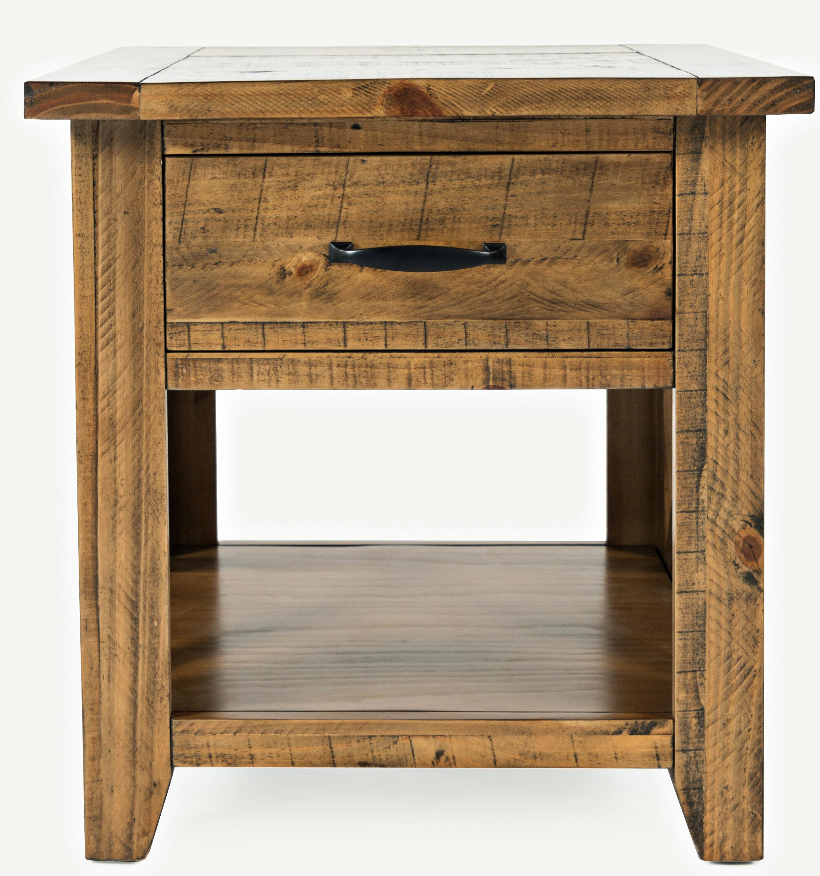 Loon Peak Thame Solid Wood End Table With Storage Reviews Wayfair