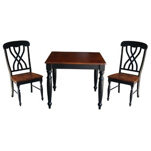 Mathilda 3 Piece Solid Wood Dining Set with Turned Legs August Grove