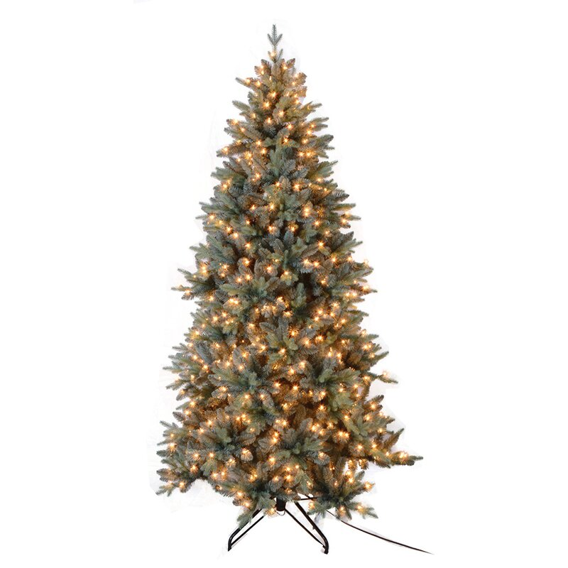 7.5' Blue Spruce Artificial Christmas Tree with 650 Clear & White Lights  with Stand - Santa's Workshop 7.5' Blue Spruce Artificial Christmas Tree With 650
