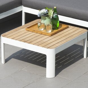 Thora Aluminum and Teak Outdoor Square Cocktail Side Table