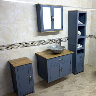 Bexhill Solid Oak 750mm Wall Hung Single Vanity Unit By August Grove