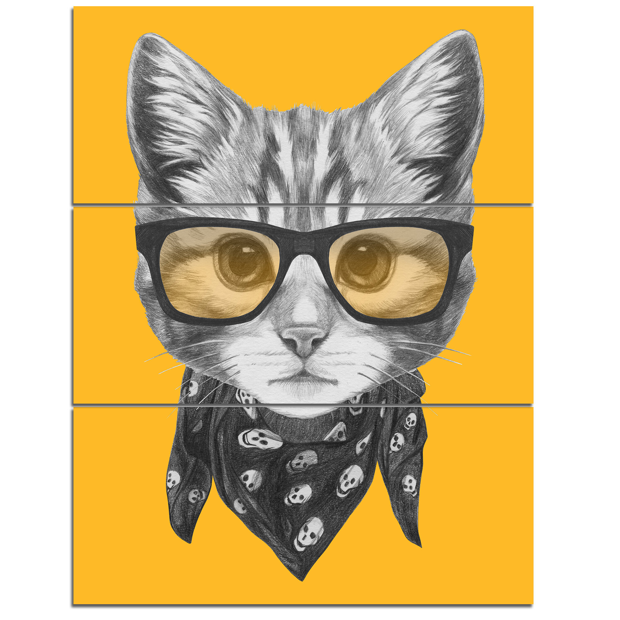 DesignArt \'Funny Cat with Glasses and Scarf\' 3 Piece Wall Art on ...