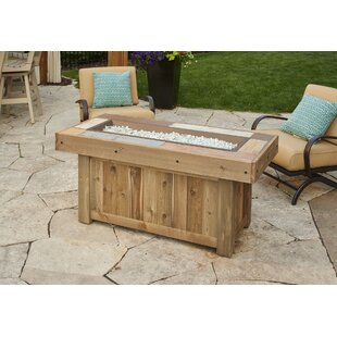 Vintage Linear Wood Gas Fire Pit Table