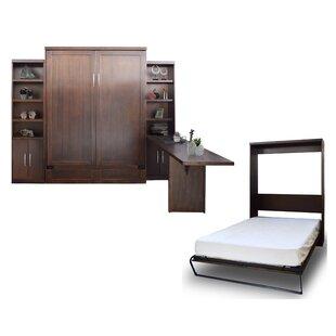 Brayden Studio Quinn Queen Murphy Bed with 2 Door Bookcases and Desk