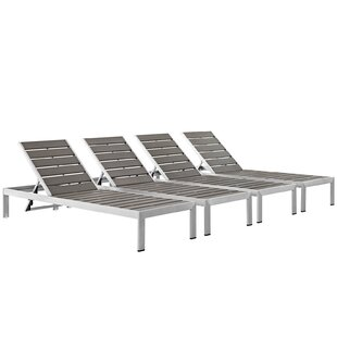 Coline Modern Outdoor Patio Metal Single Chaise (Set of 4)