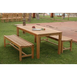 Farnam 3 Piece Teak Bistro Set by Rosecliff Heights