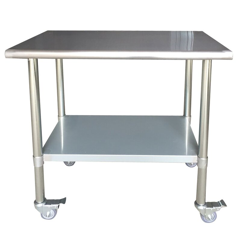 Leo Stainless Steel Top Workbench with Casters