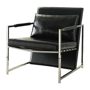 Siebert Polyurethane Upholstered Metal Armchair with Pillow by Orren Ellis