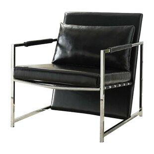 Siebert Polyurethane Upholstered Metal Armchair with Pillow by Orren Ellis