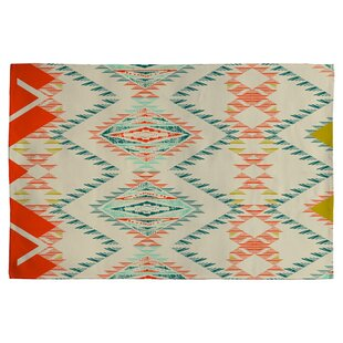 Best Price Marker Southwest Rug Off-white/ Red/Turquoise Area Rug By Deny Designs