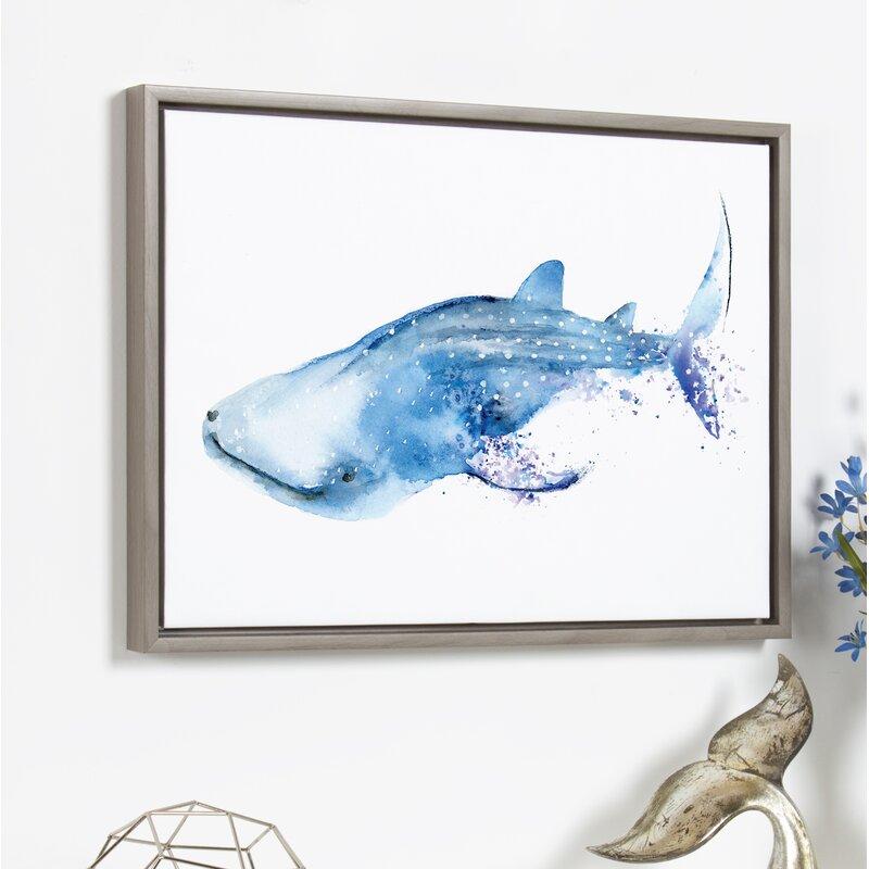 Allmodern Wyatt The Whale Shark Framed Watercolor Painting Print On Canvas Wayfair