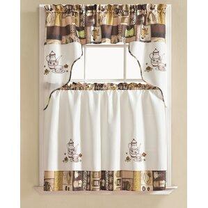 Captivating Werner Coffee 3 Piece Kitchen Curtain Set
