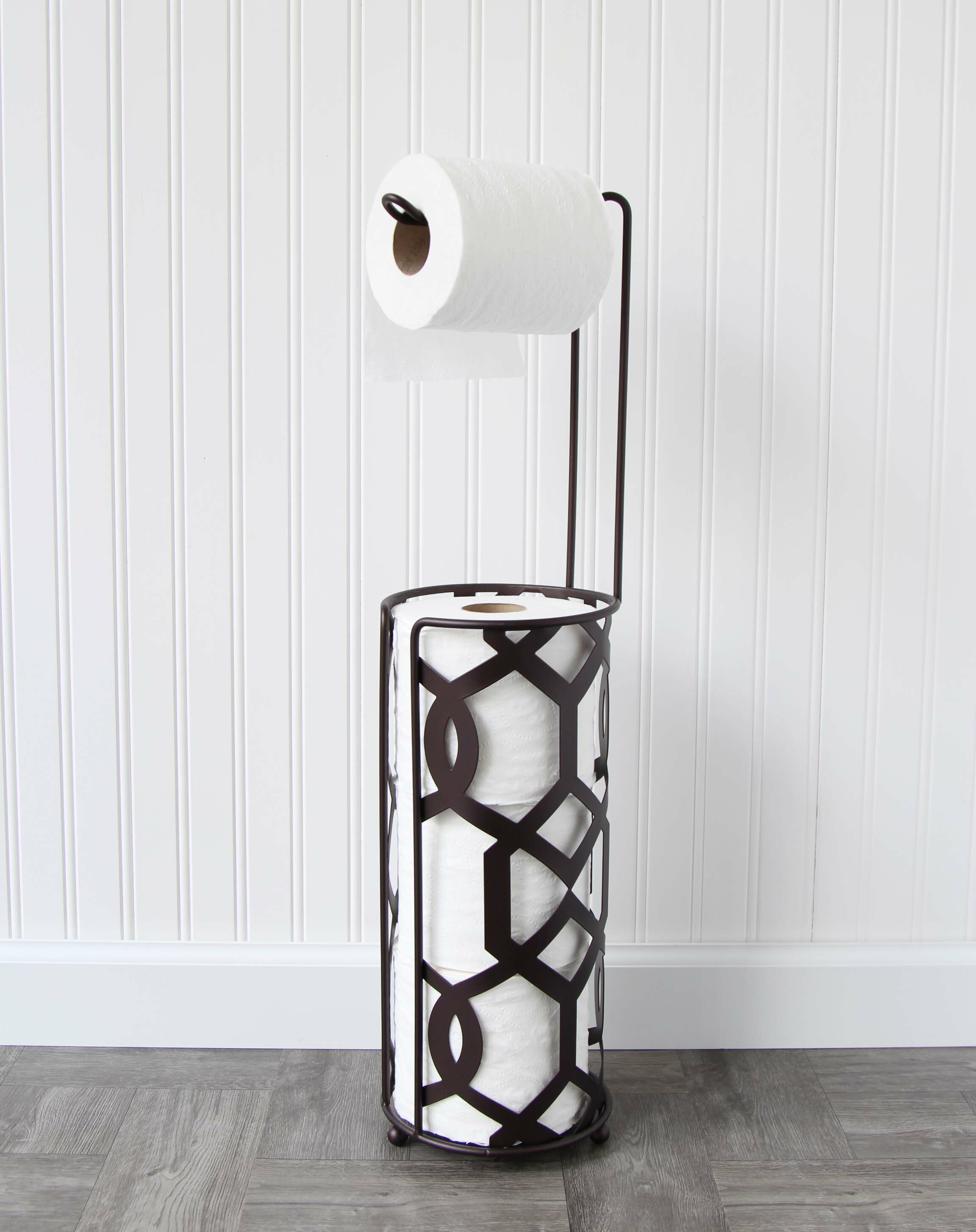 Free Standing Roll Organizer Toilet Paper Stand Bronze Oil Rubbed Tissue Holder