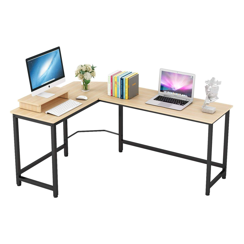 Ebern Designs L Shape Corner Computer Desk With Monitor Stand Wayfair