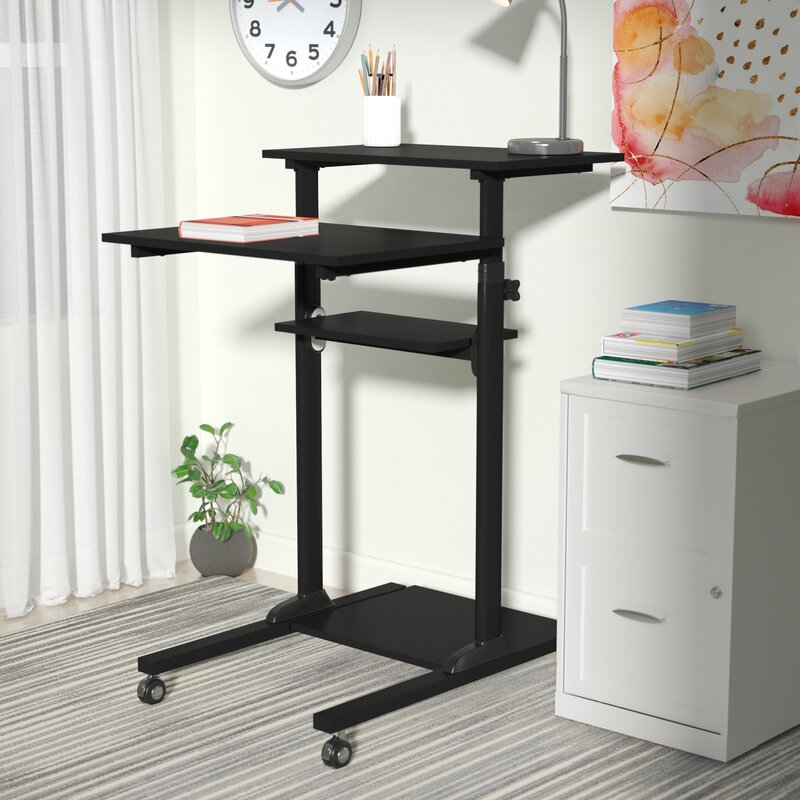latitude run degregorio mobile height adjustable computer work rh wayfair com standing work desk height standing work desk height