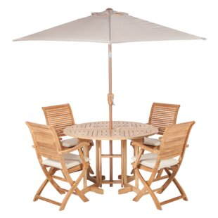 4 Seater Folding Dining Set With Parasol Image