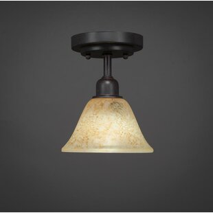 Kash 1-Light Beige/Dark Granite Semi-Flush Mount by Williston Forge