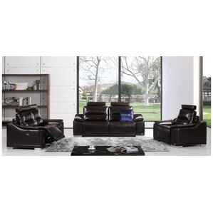 Oak Brook 3 Piece Leather Living Room Set by Orren Ellis