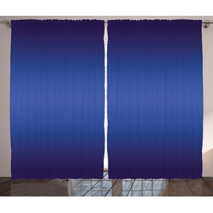 Colyer Night Sky Inspired Royal Blue Ombre Colored Artsy Design Print for Room Decorations Graphic Print & Text Semi-Sheer Rod Pocket Curtain Panels (Set of 2) by Latitude Run